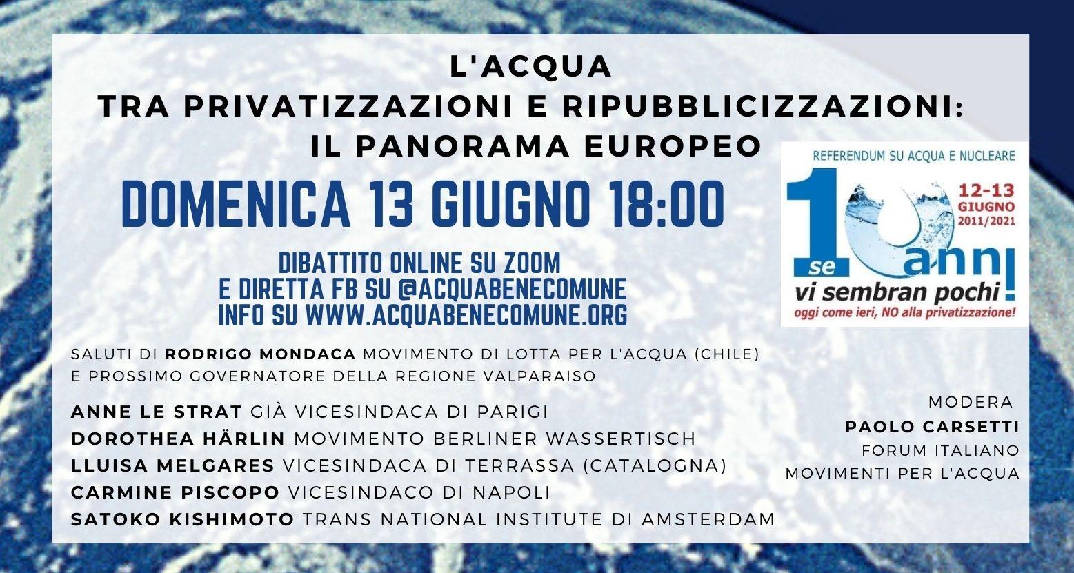 """13/6 ore 18.00 - Dibattito on line """"L'acqua, tra privatizzazioni e ripubblicizzazioni: il panorama europeo"""""""